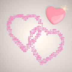3d render of a playful two hearts symbol made of many hearts
