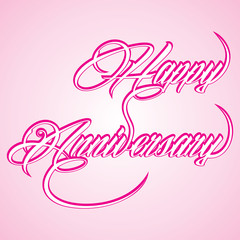 Creative calligraphy of text happy anniversary
