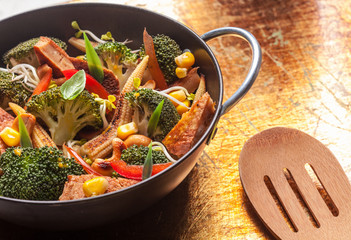 Asian roasted vegetables in a wok