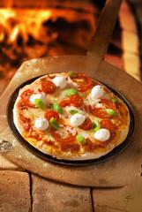 Crusty Italian pizza topped with mozzarella