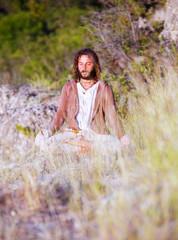 Deep meditated man portrait