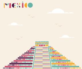 Mexico pyramid travel background.