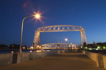 Duluth lift bridge at night