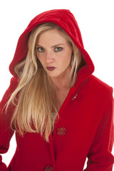 Woman red jacket serious