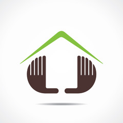 home icon design with hand stock
