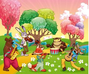 Musician animals in a fantasy landscape.