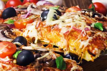 Delicious italian pizza served