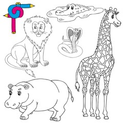 Coloring image wild animals 01