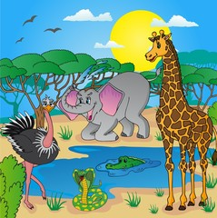 African landscape with animals 03