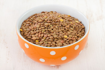 lentil in orange bowl