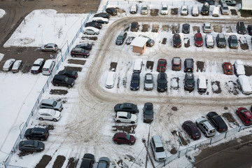 parking with many cars in winter
