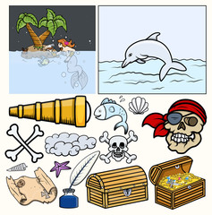 Pirates Elements Vector - Treasure Hunt