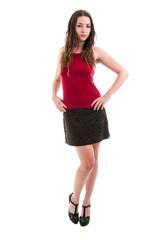 Pretty Brunette in Short Skirt