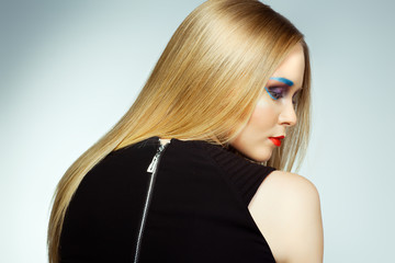 Fashion woman with Professional makeup and hairstyle