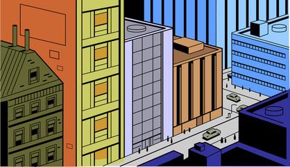 Retro Comics City Street Scene