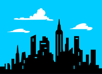Graphic Style Cartoon City Skyline