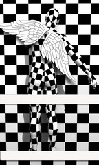 Black end White checkered angel