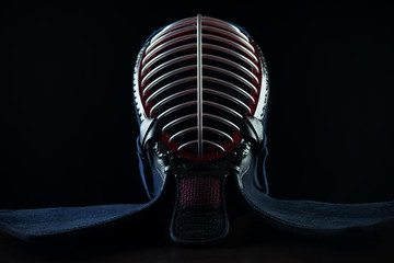 Kendo protective sportswear: men, black background