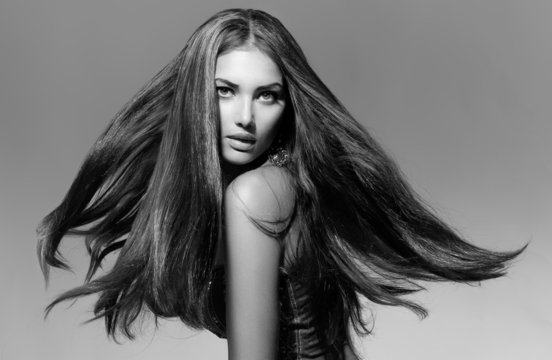 Black and White Fashion Model Girl Portrait with Blowing Hair