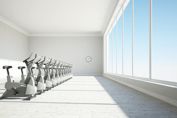 Gym with big windows