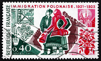 Postage stamp France 1973 Polish Immigrants