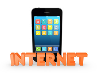 Word INTERNET and mobile phone.