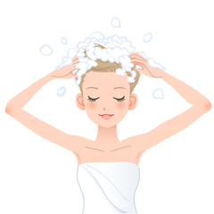 シャンプー 洗髪  Young woman washing her head with shampoo