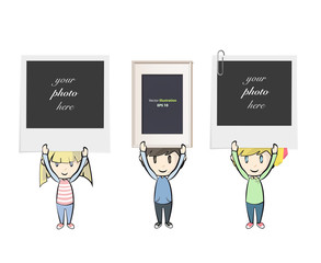 Kids holding photos. Isolated vector background design.
