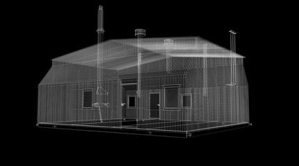 Industrial building. Wire-frame render