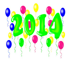 New year 2014, baloons design - vector illustration.