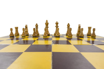 Worn Vintage Chess Set Isolated
