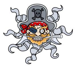 Creepy Octopus Head Captain Pirate - Vector Cartoon Illustration