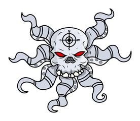 Creepy Octopus Head Skull - Vector Cartoon Illustration
