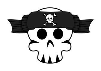 Jolly Roger Banner Over Skull Forehead - Vector Illustration Fototapete