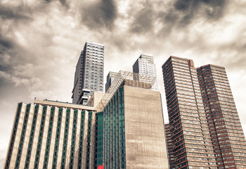 Wall Mural - New York. Wide angle street view of modern tall skyscrapers - Ma