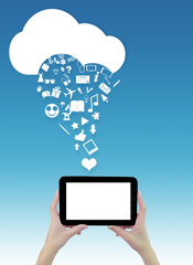 Hands holding tablet with cloud and icons