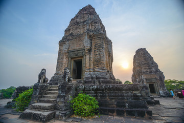 Ruins of old temple Phnom Bakheng in Angkor