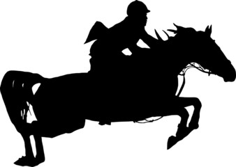 Jumping horse with rider on white background