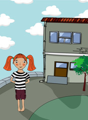 Little girl and house