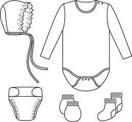 Set of child wear. Vector