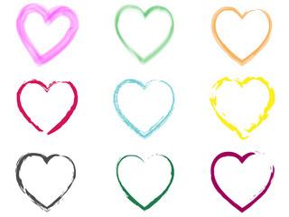 Set of scribble hearts