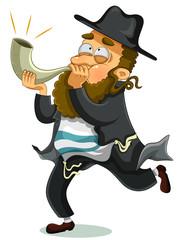 orthodox Jewish man with the traditional Shofar