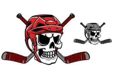 Skull in ice hockey helmet