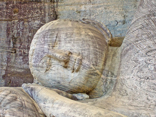 dying buddah in Gal Vihāra in the ancient capital Polonnaruwa,