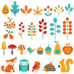 Сute autumn design elements