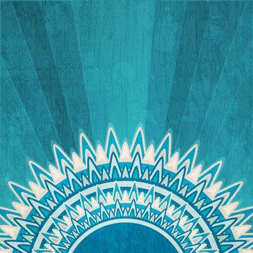 vintage blue sun background with grunge effect