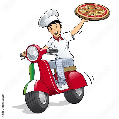 livreur de pizza livraison pizzeria fichier vectoriel libre de droits sur la banque d. Black Bedroom Furniture Sets. Home Design Ideas