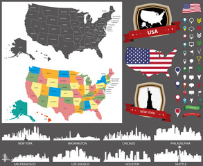 United States map and skylines vector set