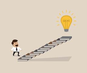 Man is walking on ladder to lightbulb idea