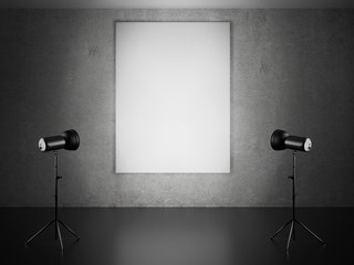 Blank frame and two spotlights